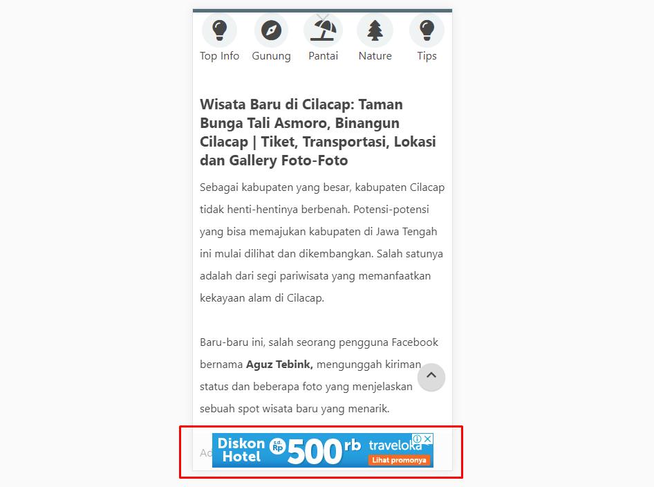 Iklan AdSense Melayang  tanpa tombol close