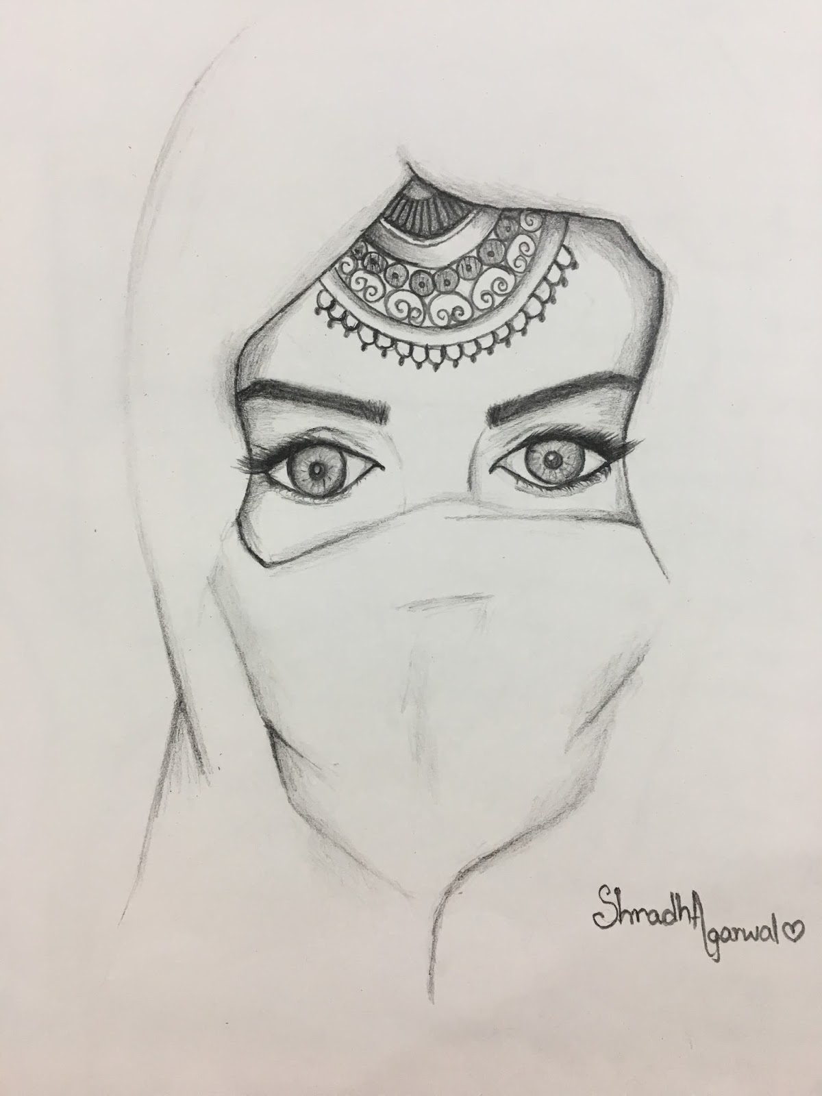 Woman with glittering eyes wearing hijab pencil sketch
