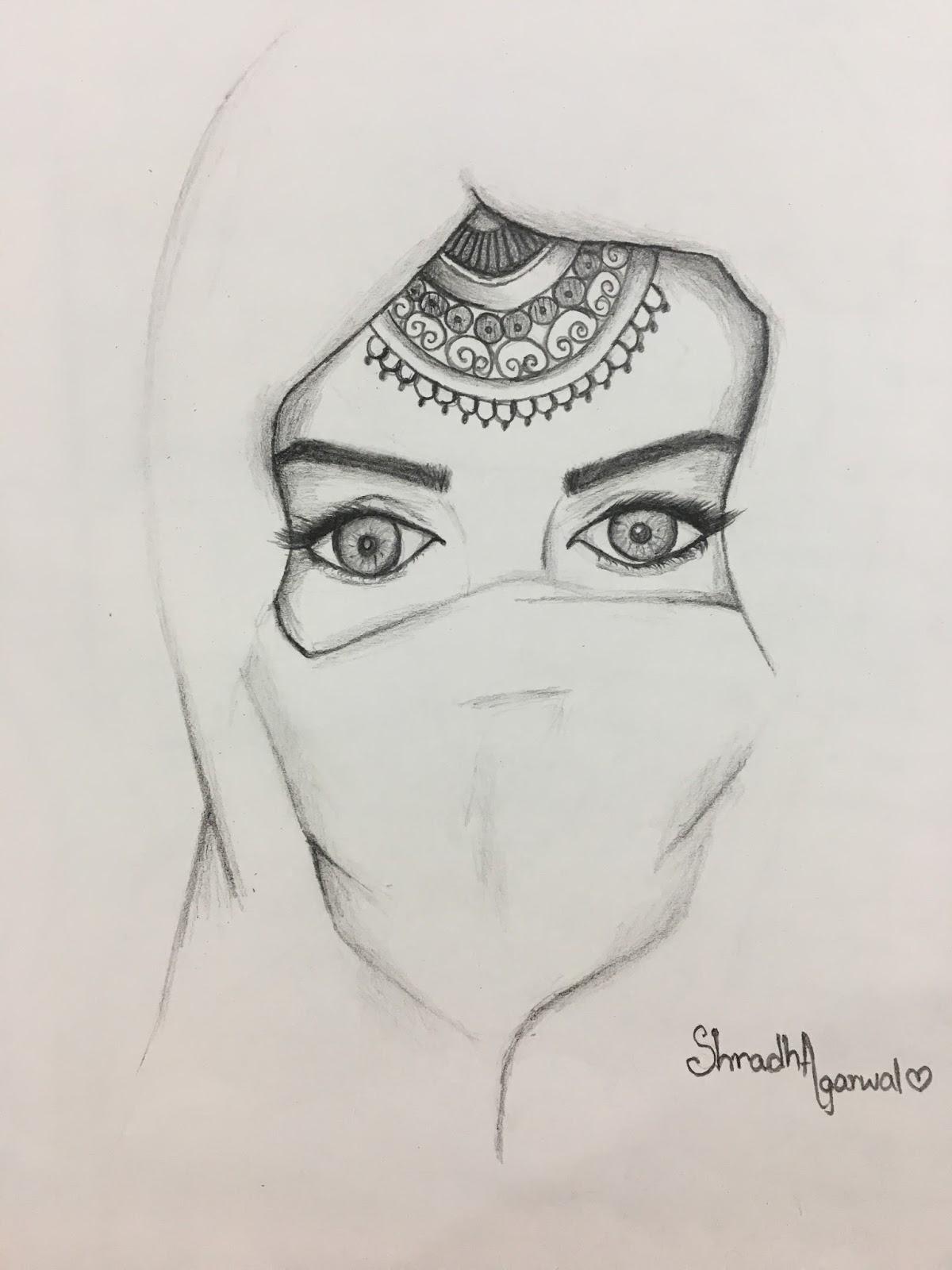 Woman Pencil Sketch : woman, pencil, sketch, Woman, 'glittering', Eyes,, Wearing, 'Hijab':, Pencil, Sketch