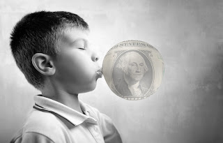 Kid Blowing Gum Money Bubble