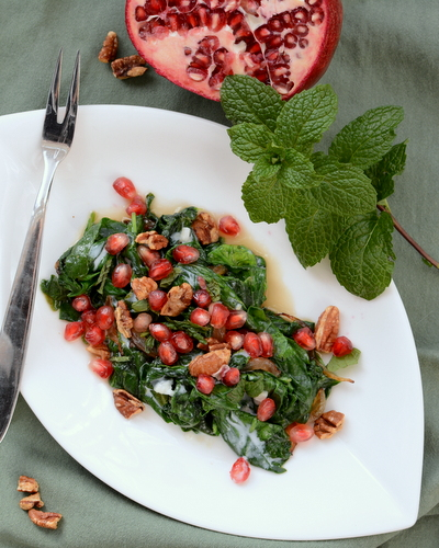 Red & Green Warm Spinach Salad, another simple but special salad ♥ AVeggieVenture.com.