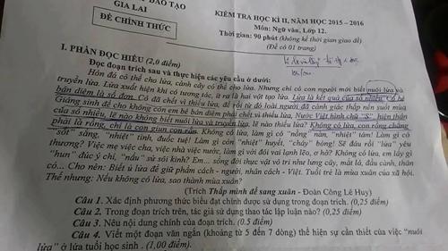 Phát rối với đề thi lớp 12 ở Gia Lai: 'Cô bé bán diêm là số đơn'
