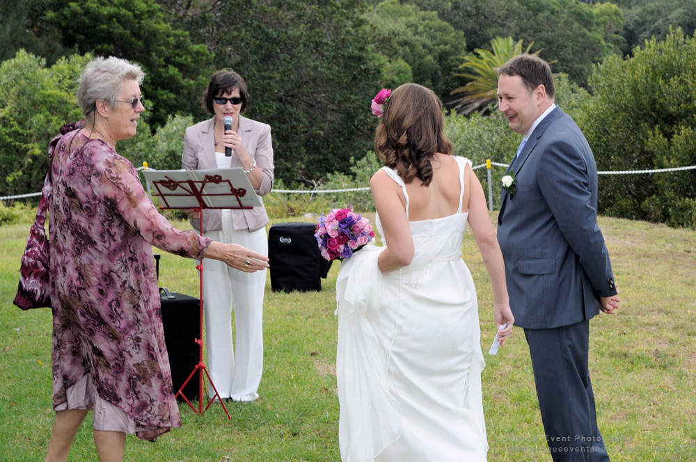 The marriage celebrant, begins the service, Garden Wedding Photographer Sydney.
