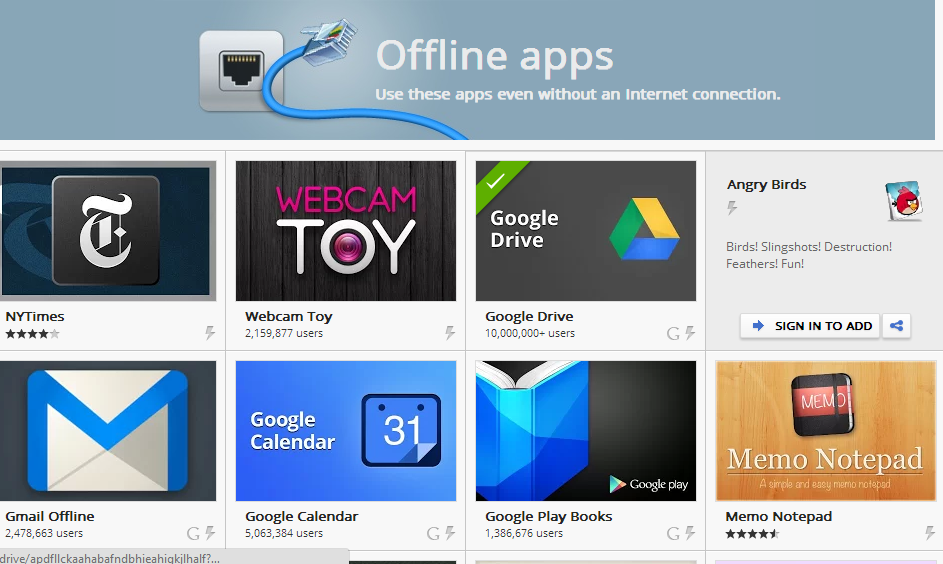 Google crome best apps that's run without internet