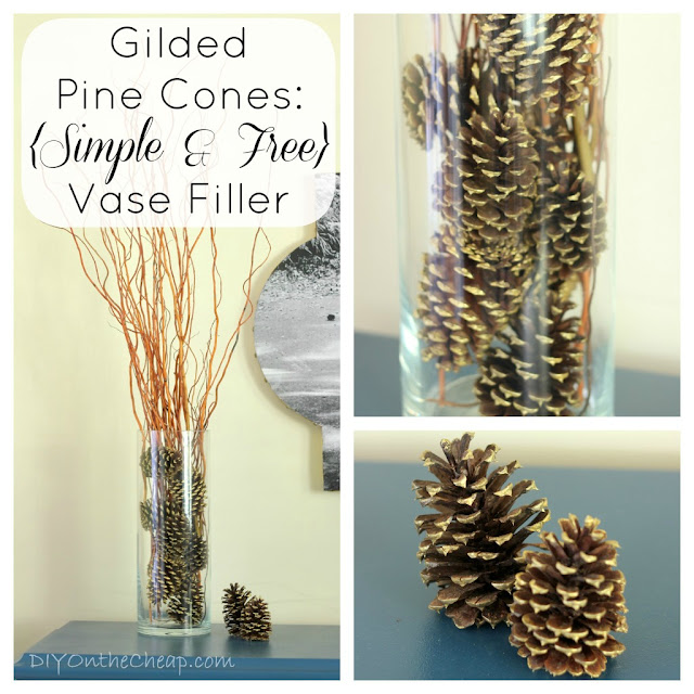 Gilded Pine Cones: Simple & Free Vase Filler