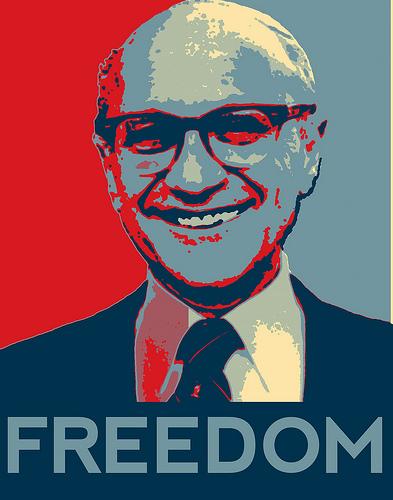 caratula documental De la cuna a la tumba - Milton Friedman - Libre para elegir
