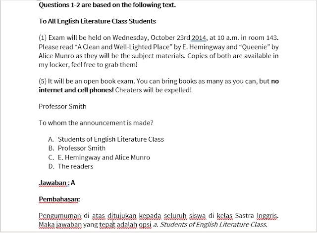 Soal UNBK Bahasa Inggris SMP 2019