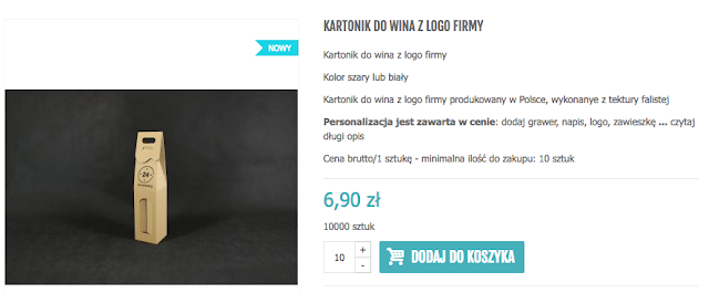 kartonik do wina z logo
