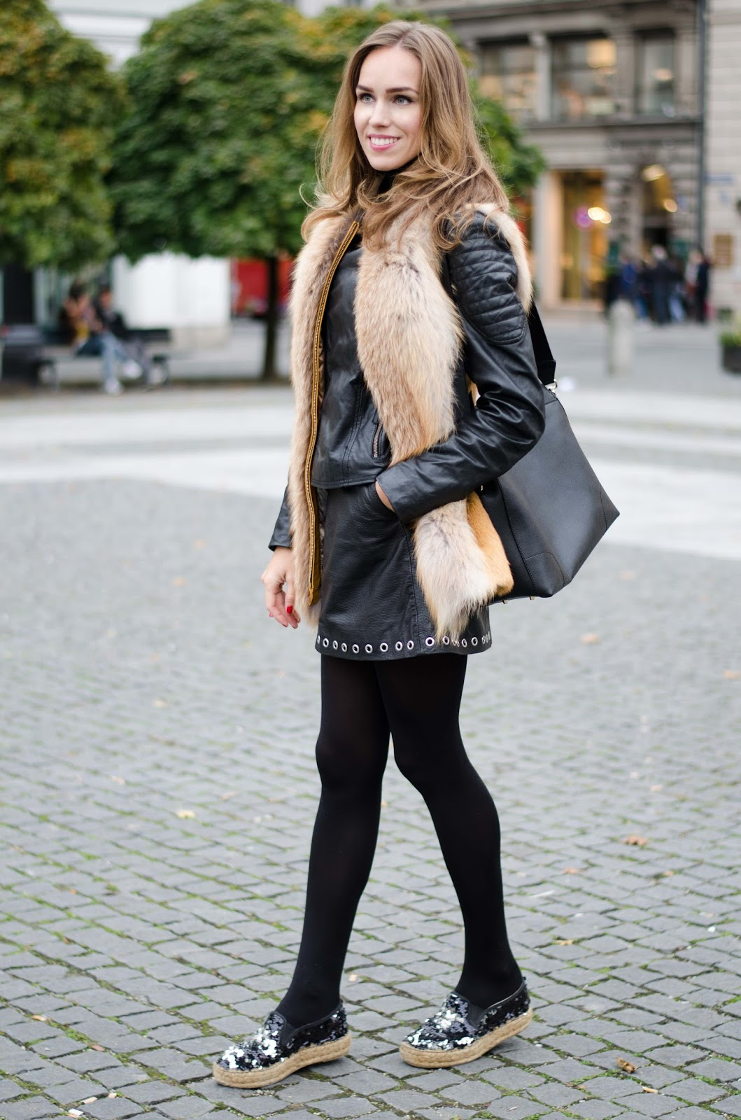 kristjaana mere munich fall outfit fur vest black leather jacket skirt