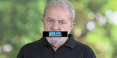 Lula com tarja do STF na boca