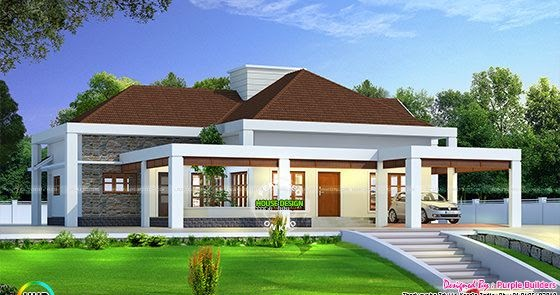 Stunning single floor house above road level - Kerala home ...