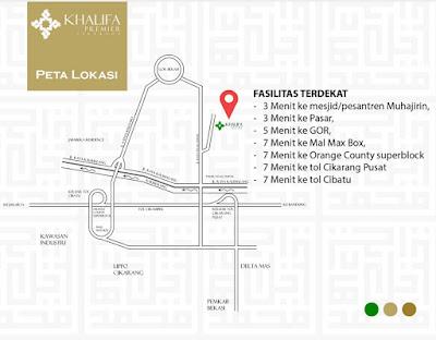 peta Khalifa Premier perumahan syariah daerah cikarang