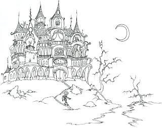Fichas Infantiles: Halloween para pintar castillo