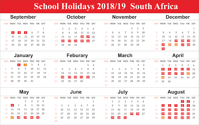 Template Free School Holidays 2019 SA