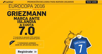 betfair supercuota 7 Griezmann marca Francia vs Islandia 3 julio