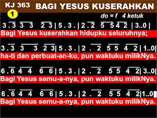 Lirik dan Not Kidung Jemaat 363 Bagi Yesus Kuserahkan