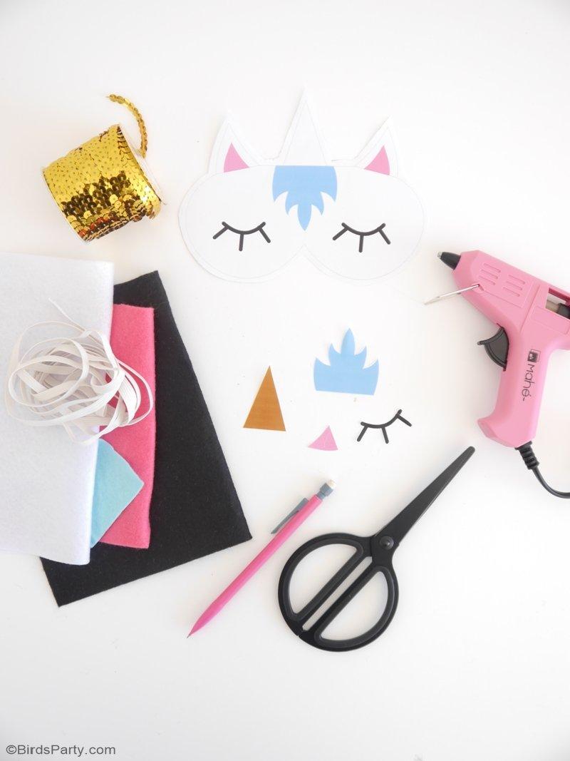 No Sew DIY Unicorn Sleeping Masks With Free Template