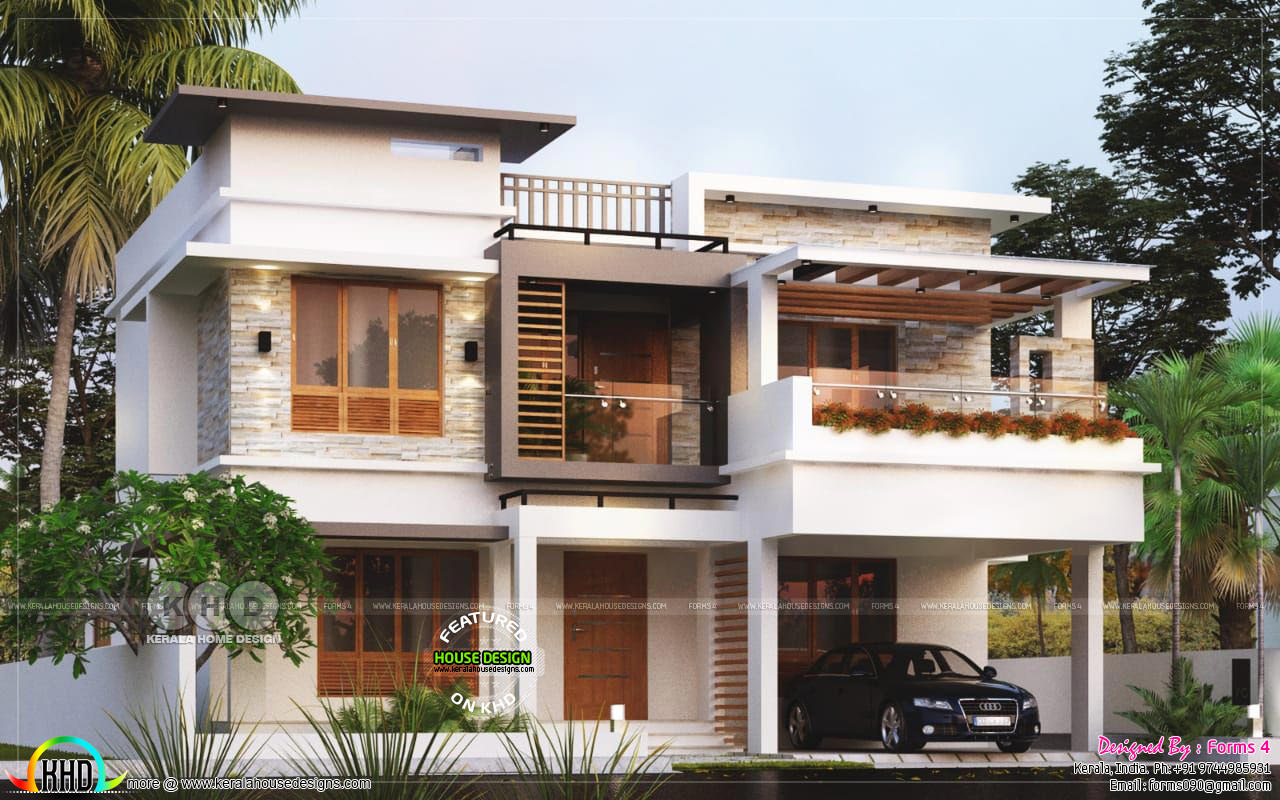 4 Bhk Modern Contemporary Flat Roof Home Kerala Home Design And Floor Plans 8000 Houses