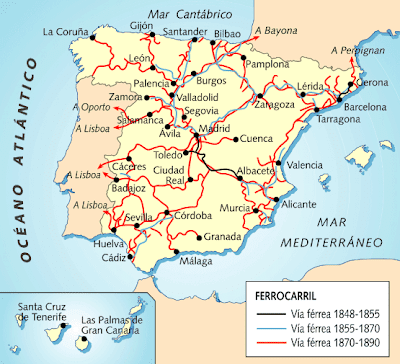 Mapa Ferroviario España 2017.La Clase De Sexto Mapa De La Red Ferroviaria Espanola Del S
