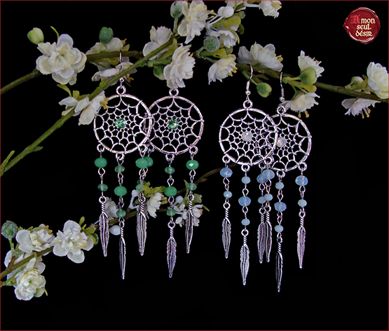 boucles d'oreilles attrape reves amerindien earrings dreamcatcher dreams jewelry white opal mystic native american jewellery