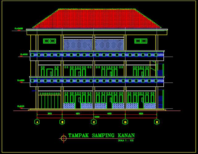 Gambar Kerja Pondok 3 Lantai Lengkap Dengan Detail