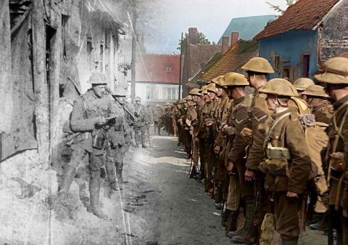 Black and white and colour comparison of soldiers in They Shall Not Grow Old