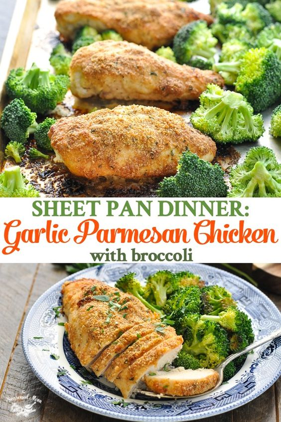 GARLIC PARMESAN CHICKEN AND BROCCOLI