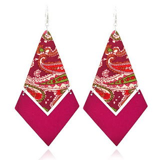 Ethnic Geometric Wooden Earrings - Rose Madder