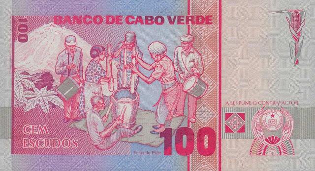 Cape Verde 100 Escudos banknote 1989 Festival of the Pestle - Island of Fogo, São Filipe