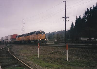 Union Pacific SD40-2 #3247 in Kalama, Washington, in March, 1997