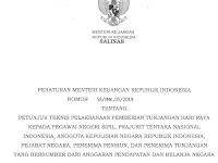 PMK No. 58/2019 tentang Juknis Pencairan THR PNS, TNI, Polri, Pejabat Negara dan Pensiunan