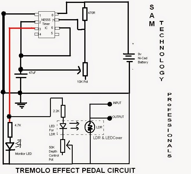sam technology professionals  build a guitar tremolo effect pedal easily
