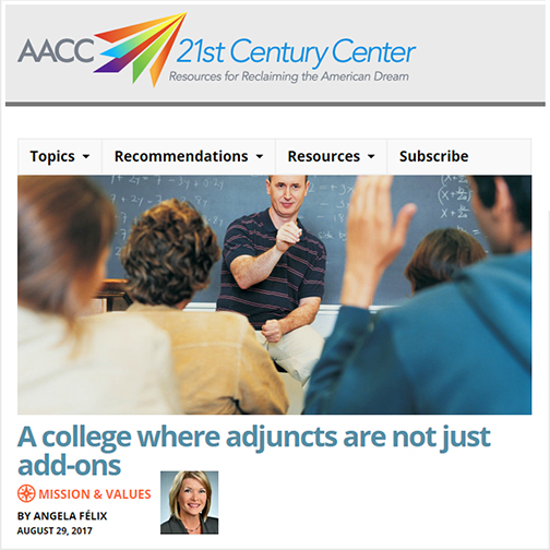 snapshot of AACC web page with headline for feature:  Text: A college where adjuncts are not just add-ons.  Image of a teacher standing in front of a classroom.