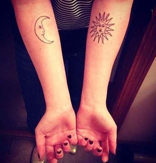 güneş ve ay dövmesi kol forearm sun and moon tattoo