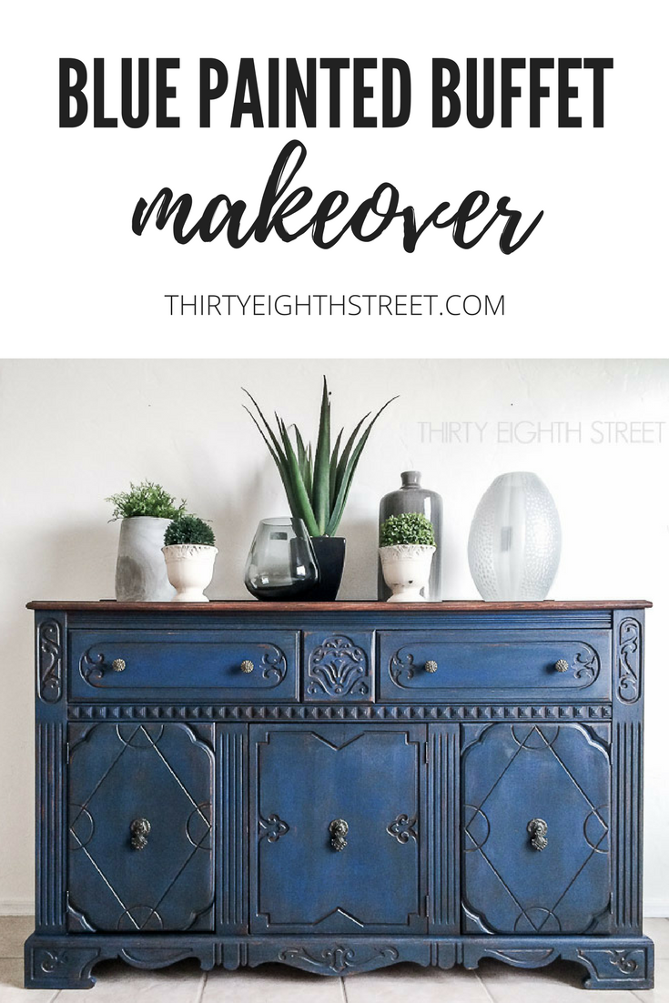 blue buffet, blue painted furniture, blue painted ideas, blue painted furniture ideas, painting furniture, before and after makeovers