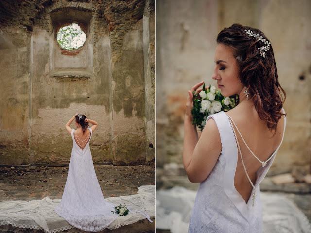 Perłowy naszyjnik na plecy i ozdoby ślubne do włosów