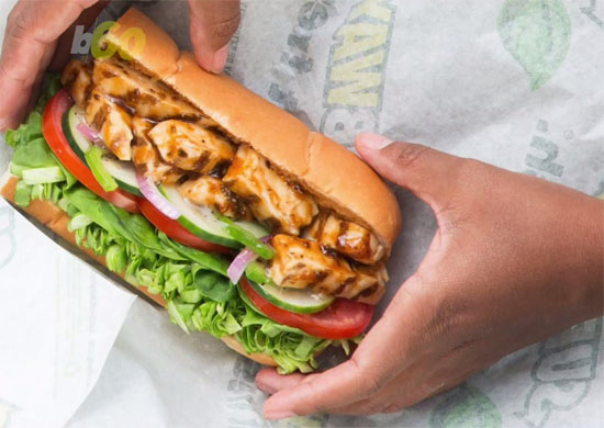 Lanche de frango Subway