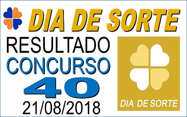 Resultado do Dia de Sorte concurso 40 de 21/08/2018 (Imagem: Informe Notícias)