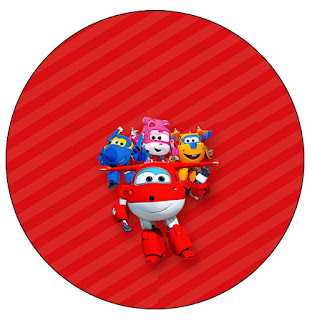 Super Wings Free Printable Cupcake Wrappers and Toppers.
