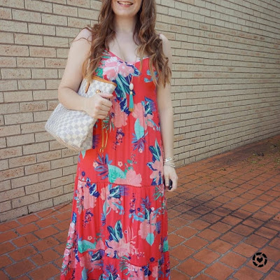awayfromtheblue instagram Kmart Tropicana sleeveless tiered maxi dress and louis vuitton neverfull tote