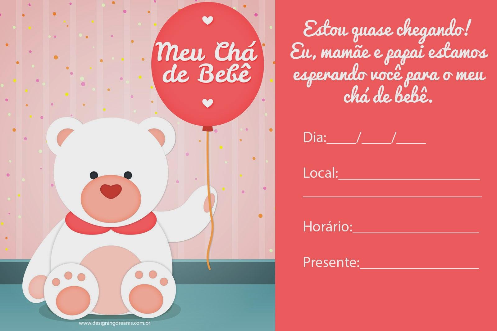 Convites Para Chá De Bebê Editáveis Grátis Para Baixar