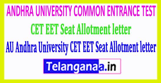 AU Andhra University CET EET Seat Allotment letter 2019 Download