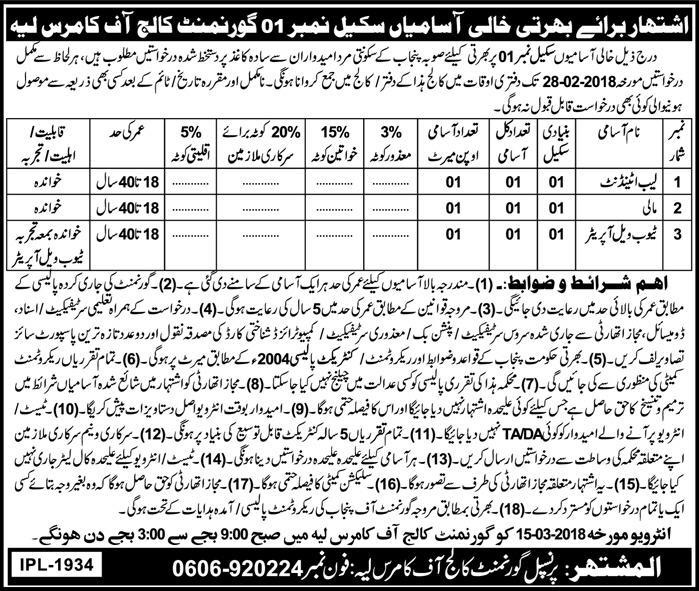 Class Four Jobs in Govt College of Commerce Layyah, Today Feb 2018