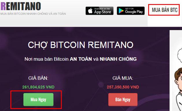 mua bitcoin trên remitano