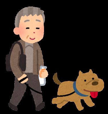犬の散歩をしているヒトのイラスト(お爺さん)