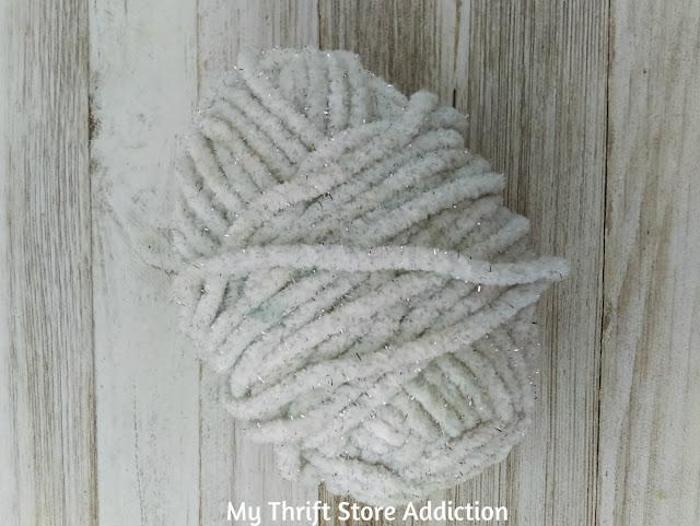 thrifted winter white yarn