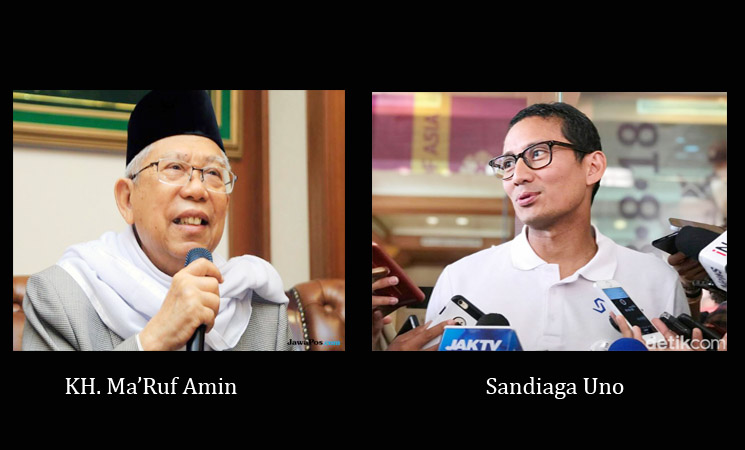 Analisa 2 Nama CAWAPRES Sandiaga Uno dan Ma'ruf Amin Pada PILPRES 2019