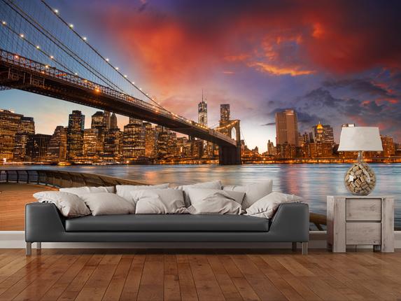New York Tapetti Valokuva Taustakuva New York taustakuva Brooklyn Bridge auringonlaskun lounge fontapet kaupunki