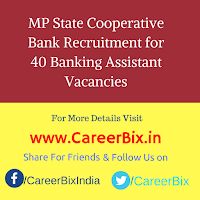 MP State Cooperative Bank Recruitment for 40 Banking Assistant Vacancies