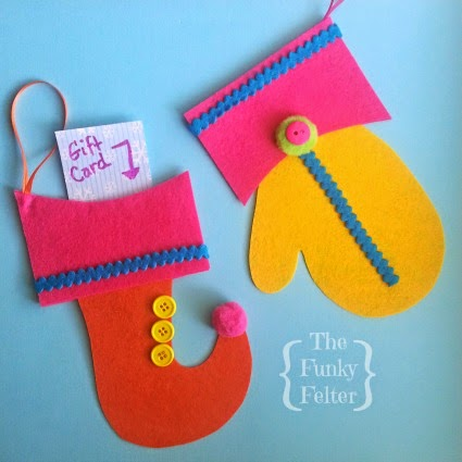 free pattern for elf stocking and mitten ornament with craft tutorial by the funky felter